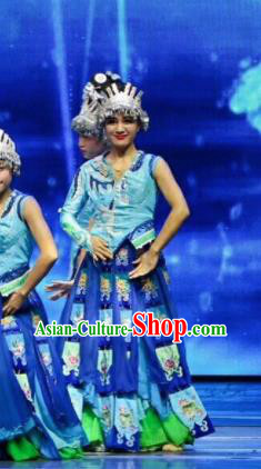 Chinese Wind Of Colorful Guizhou Miao Nationality Dance Blue Dress Stage Performance Costume and Headpiece for Women