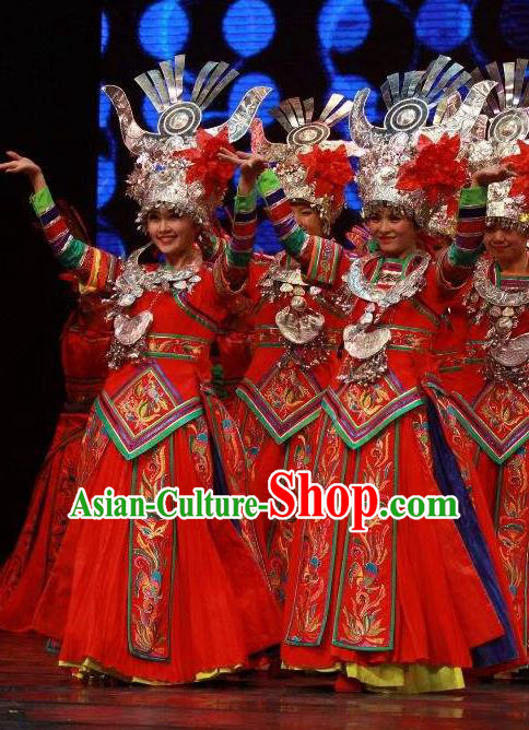 Chinese Wind Of Colorful Guizhou Miao Nationality Ethnic Dance Red Dress Stage Performance Costume and Headpiece for Women