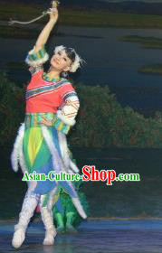 Chinese The Moon Rising On The Helan Mountain Hui Nationality Dance Dress Stage Performance Costume and Headpiece for Women