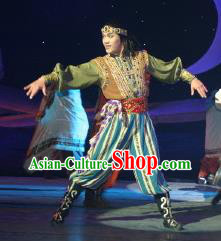 Chinese The Moon Rising On The Helan Mountain Hui Nationality Clothing Stage Performance Dance Costume for Men