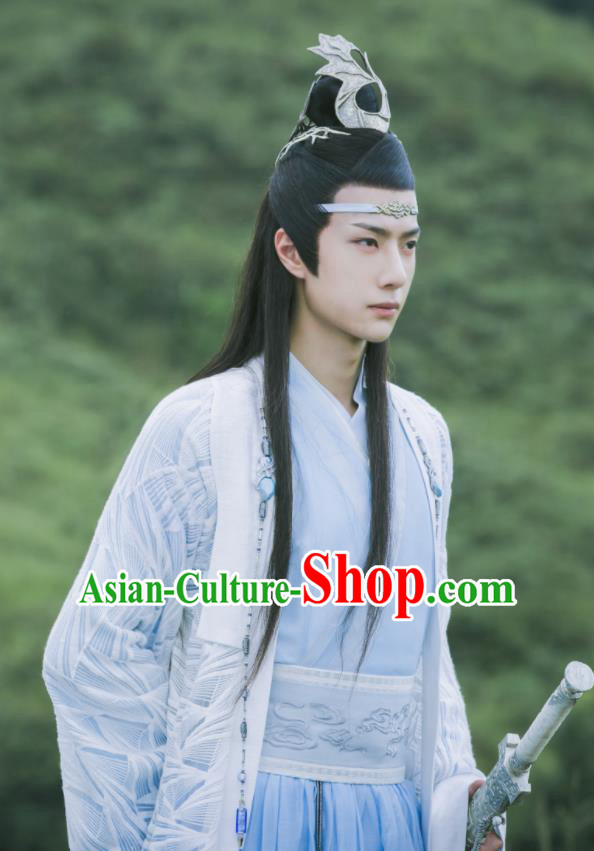 Chinese Drama The Untamed Ancient Swordsman Lan Zhan Blue Clothing Nobility Childe Wang Yibo Costumes for Men