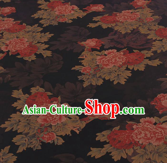 Traditional Chinese Classical Peony Pattern Black Gambiered Guangdong Gauze Silk Fabric Ancient Hanfu Dress Silk Cloth