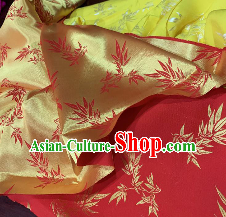 Chinese Classical Bamboo Leaf Pattern Red Silk Fabric Traditional Ancient Hanfu Dress Brocade Cloth