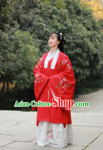 Traditional Chinese Ming Dynasty Palace Lady Replica Costumes Ancient Court Princess Red Hanfu Dress for Women