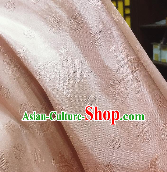 Chinese Classical Pattern Light Pink Silk Fabric Traditional Ancient Hanfu Dress Brocade Cloth