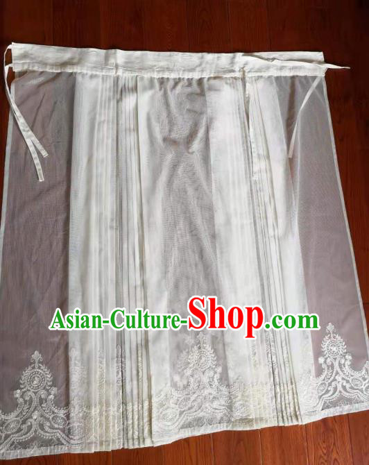 Traditional Chinese Ming Dynasty Replica Costumes Ancient Palace Princess White Silk Skirt for Women