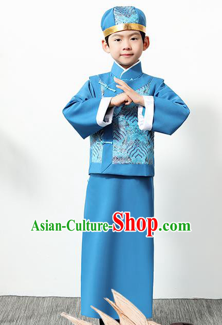 Chinese Traditional Qing Dynasty Boys Blue Clothing Ancient Manchu Prince Costume for Kids
