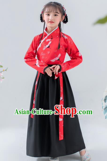 Chinese Traditional Ming Dynasty Girls Hanfu Dress Ancient Princess Costume for Kids