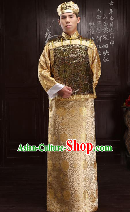 Chinese Traditional Qing Dynasty Royal Prince Golden Hanfu Clothing Ancient Manchu Nobility Childe Costume for Men