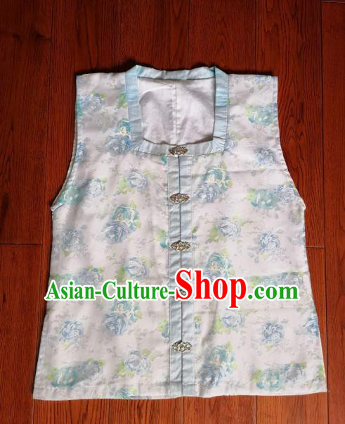 Traditional Chinese Ming Dynasty Replica Costumes Ancient Palace Princess White Silk Vest for Women