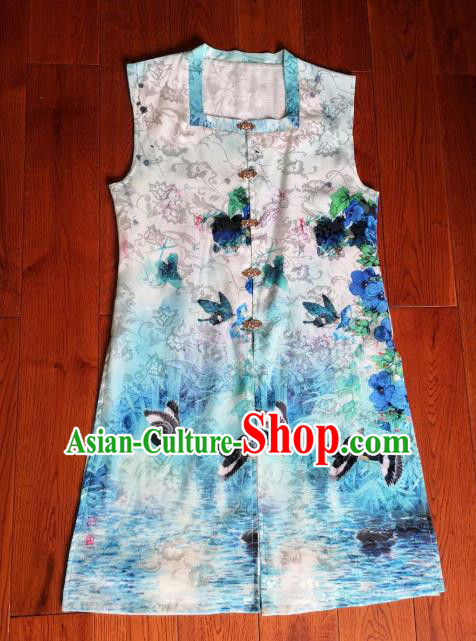 Traditional Chinese Ming Dynasty Replica Costumes Ancient Palace Princess Blue Silk Vest for Women