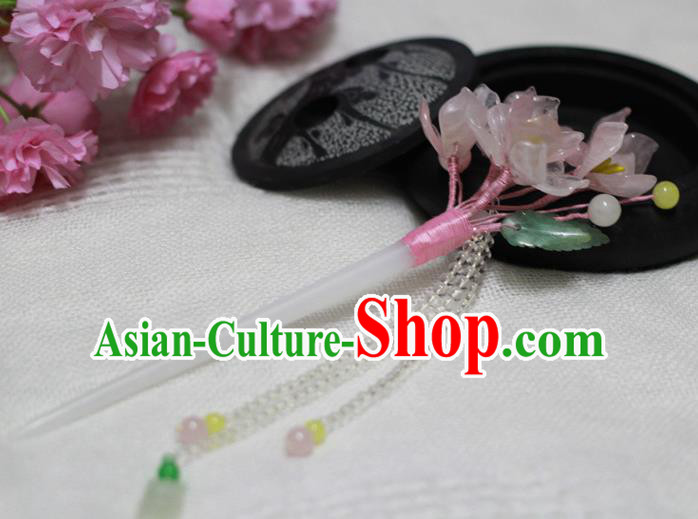 Chinese Ancient Court Queen Pink Begonia Tassel Hairpins Traditional Classical Hanfu Hair Accessories for Women