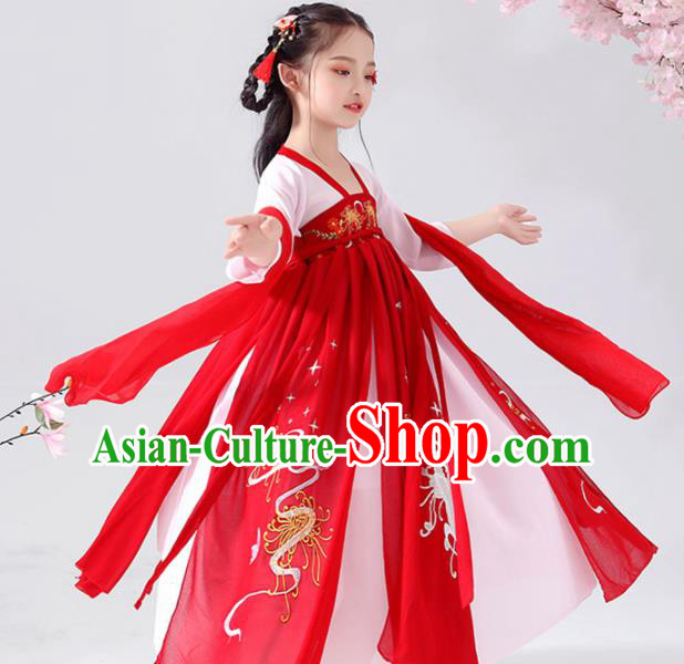 Chinese Traditional Tang Dynasty Girls Red Hanfu Dress Ancient Princess Costume for Kids