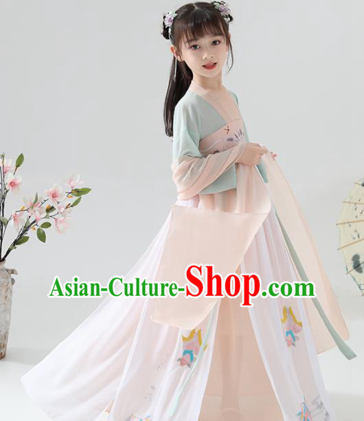 Chinese Traditional Tang Dynasty Girls Champagne Hanfu Dress Ancient Princess Costume for Kids
