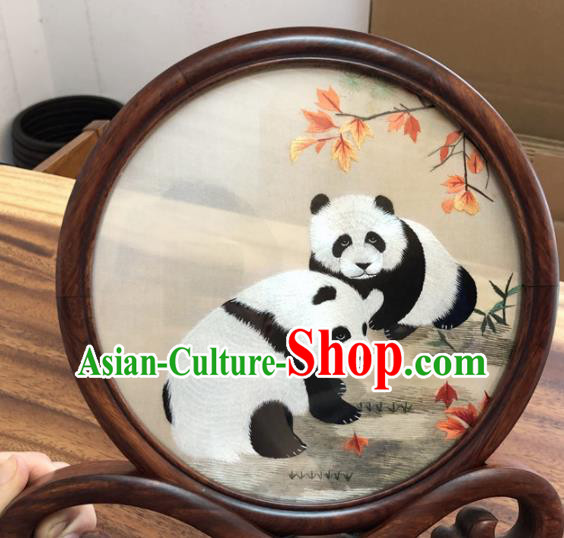 Chinese Traditional Suzhou Embroidery Panda Desk Folding Screen Embroidered Rosewood Decoration Embroidering Craft