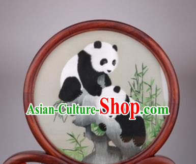 Chinese Traditional Suzhou Embroidery Double Panda Desk Folding Screen Embroidered Rosewood Decoration Embroidering Craft