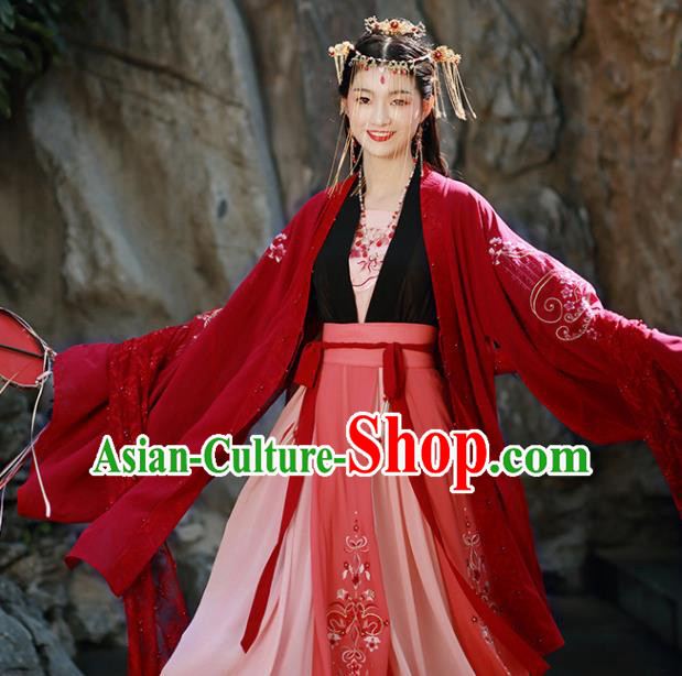 Traditional Chinese Song Dynasty Wedding Replica Costumes Ancient Court Princess Embroidered Red Hanfu Dress for Women