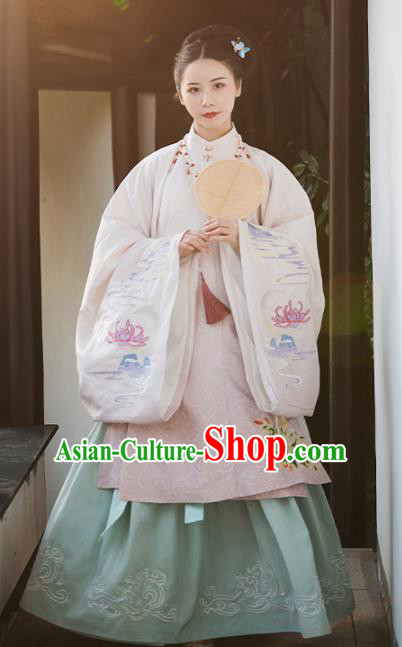 Traditional Chinese Ming Dynasty Royal Dowager Embroidered Hanfu Dress Ancient Nobility Countess Replica Costume for Women
