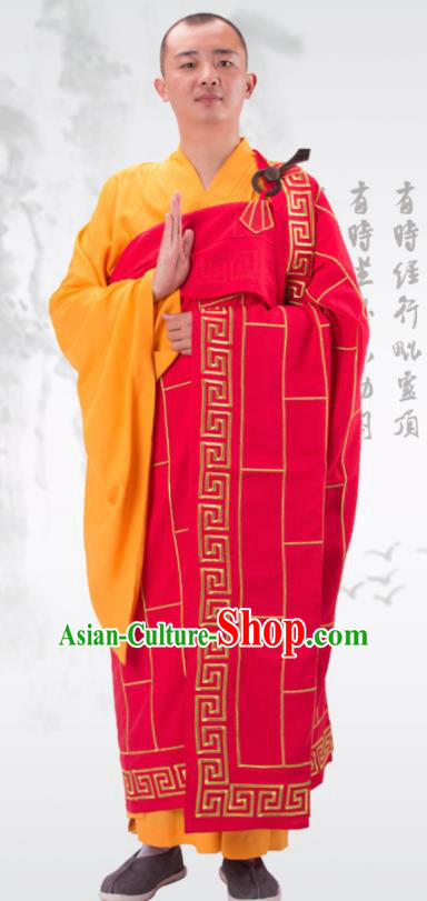 Traditional Chinese Monk Costume Buddhists Rosy Cassock Clothing for Men