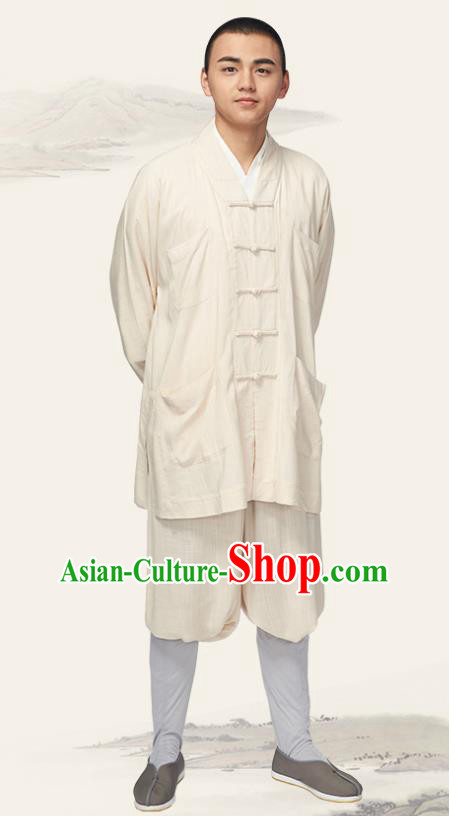 Traditional Chinese Monk Costume Meditation White Outfits Shirt and Pants for Men