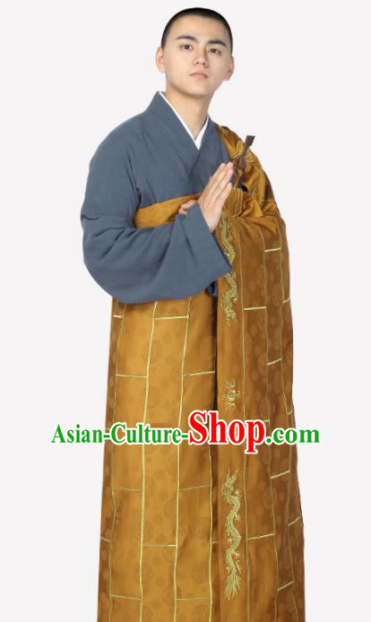 Traditional Chinese Monk Costume Buddhists Brownness Cassock for Men