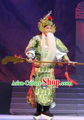 Traditional Chinese Henan Opera Seven Swords General Costumes Green Body Armour and Headwear for Men