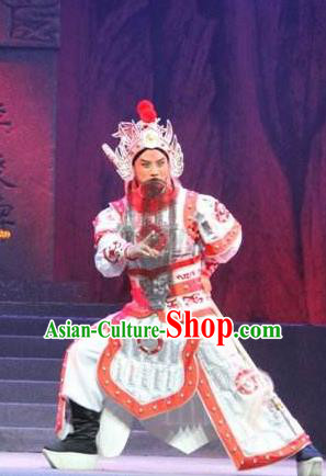 Traditional Chinese Henan Opera Seven Swords General Costumes White Body Armour and Headwear for Men