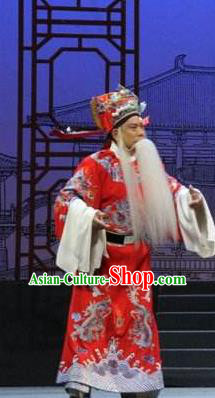 Traditional Chinese Henan Opera Seven Swords Prime Minister Red Costumes and Headwear for Men