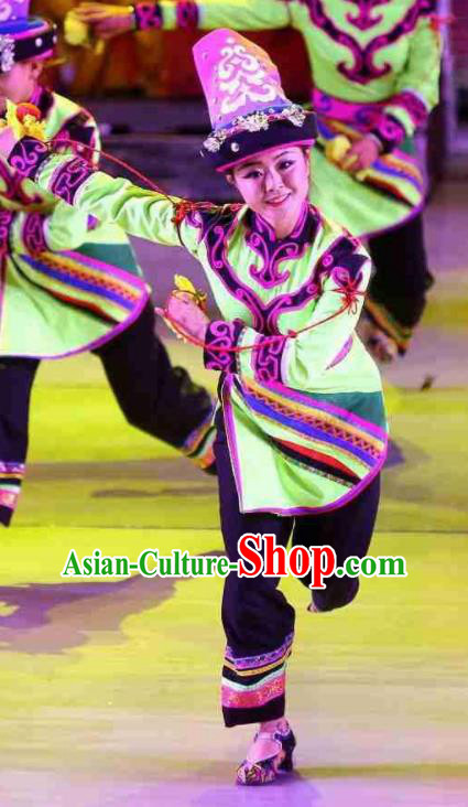 Phoenix Flying Qiang Dance Traditional Chinese Qiang Nationality Dance Green Dress and Headwear for Women