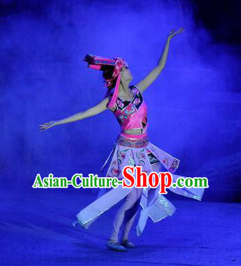 Phoenix Flying Qiang Dance Traditional Chinese Qiang Nationality Dance Dress and Headwear for Women
