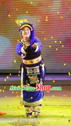 Phoenix Flying Qiang Dance Traditional Chinese Qiang Ethnic Minority Dance Blue Dress and Headwear for Women