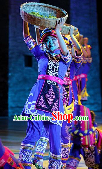 Phoenix Flying Qiang Dance Traditional Chinese Qiang Ethnic Minority Dance Blue Costume and Headwear for Women