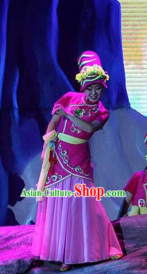 Phoenix Flying Qiang Dance Traditional Chinese Qiang Ethnic Minority Dance Rosy Costume and Headwear for Women