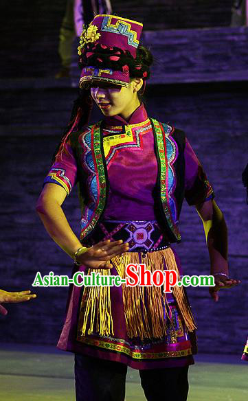 Phoenix Flying Qiang Dance Traditional Chinese Qiang Ethnic Minority Dance Purple Costume and Headwear for Women
