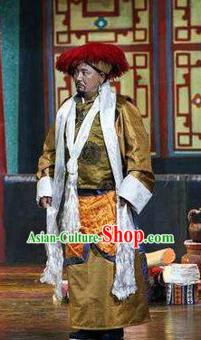 Lang SaWenBo Traditional Chinese Tibetan Nationality Chieftain Stage Performance Costumes and Headwear for Men