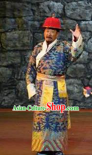 Lang SaWenBo Traditional Chinese Tibetan Nationality Chieftain Stage Performance Royalblue Costumes and Headwear for Men