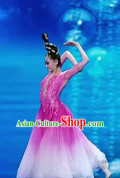 Qing Feng Traditional Chinese Classical Dance Pink Costume and Headwear for Women
