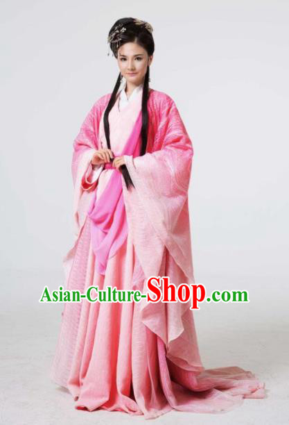 The Book of Songs Cai Wei Traditional Chinese Classical Dance Princess Pink Dress Stage Show Costume and Headdress for Women
