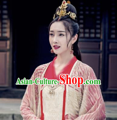 The Untamed Ancient Chinese Princess Wedding Red Dress Bride Costumes and Headpiece for Women