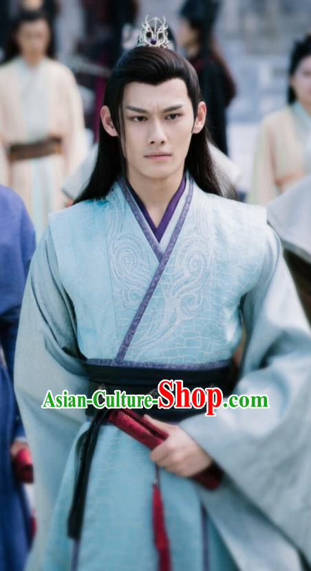 Ancient Chinese Prince Jiang Cheng Drama The Untamed Swordsman Blue Costumes for Men