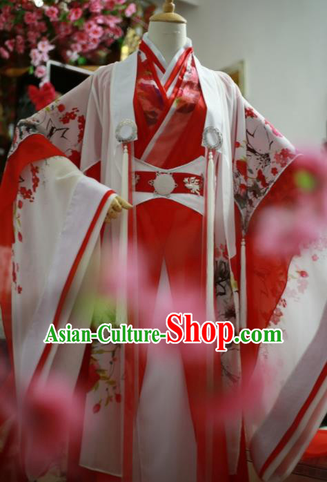 Traditional Chinese Cosplay Female Swordsman Red Dress Ancient Princess Costume for Women