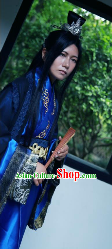 Traditional Chinese Cosplay Prince Swordsman Royalblue Clothing Ancient Nobility Childe Costume for Men