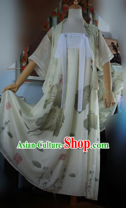 Traditional Chinese Cosplay Female Swordsman Light Yellow Dress Ancient Princess Costume for Women