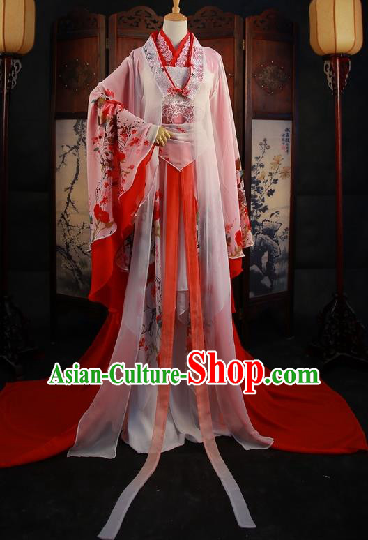 Traditional Chinese Cosplay Wedding Bride Red Dress Ancient Princess Costume for Women