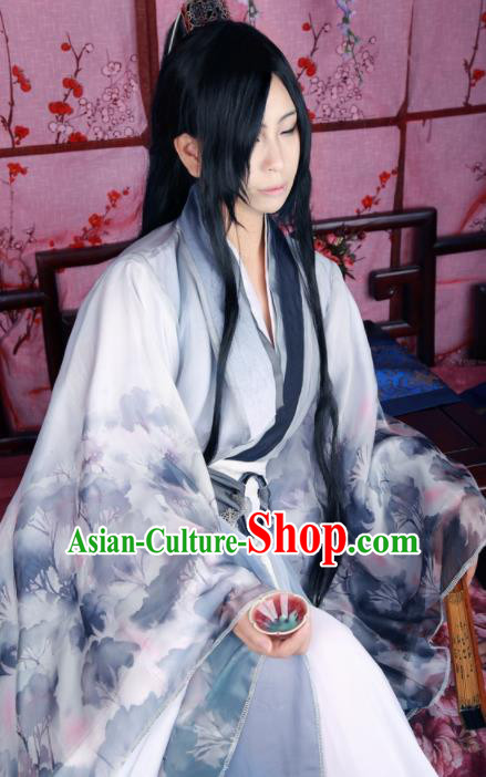 Traditional Chinese Cosplay Swordsman Grey Clothing Ancient Prince Nobility Childe Costume for Men