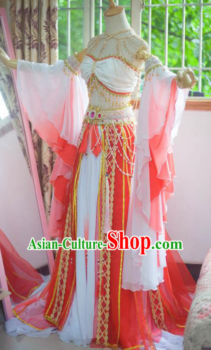 Chinese Flying Apsaras Classical Dance White Dress Ancient Princess Peri Costume for Women