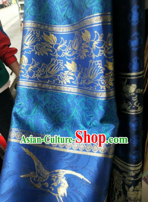 Traditional Chinese Hanfu Royalblue Brocade Fabric Classical Material