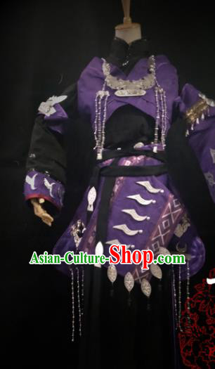 Chinese Cosplay Tang Dynasty Female Swordsman Purple Short Dress Ancient Princess Peri Costume for Women