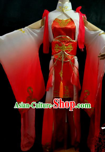 Chinese Cosplay Female Swordsman Red Dress Ancient Princess Peri Costume for Women
