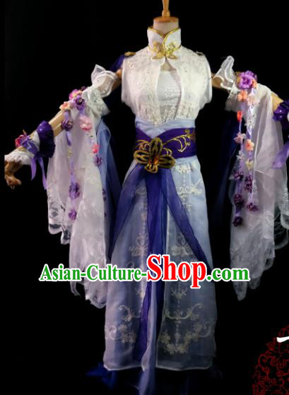 Chinese Cosplay Heroine Female Swordsman White Lace Dress Ancient Princess Peri Costume for Women